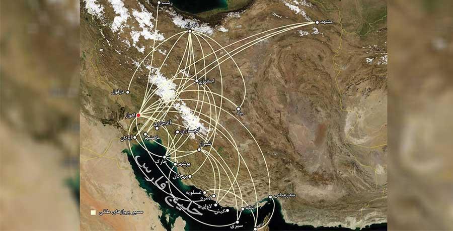 مسیر پروازی داخلی هواپیمایی نفت کارون