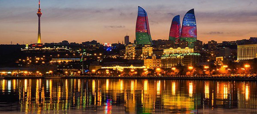 جاذبه های گردشگری باکو در شب
