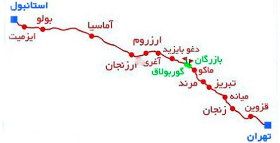 مسیر تهران به استانبول