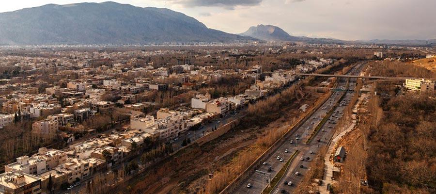 نمای هوایی شهر شیراز