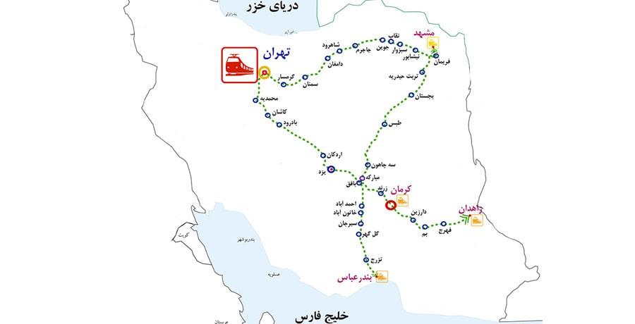 قطار مشهد بندرعباس در چه شهرهایی ایستگاه دارد؟