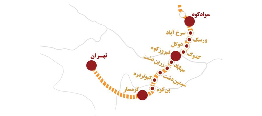 ایستگاه های مسیر قطار گردشگری تهران شمال