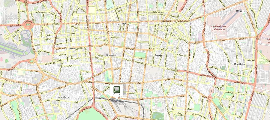 دسترسی با استفاده از تاکسی + آدرس و تلفن ایستگاه راه آهن تهران