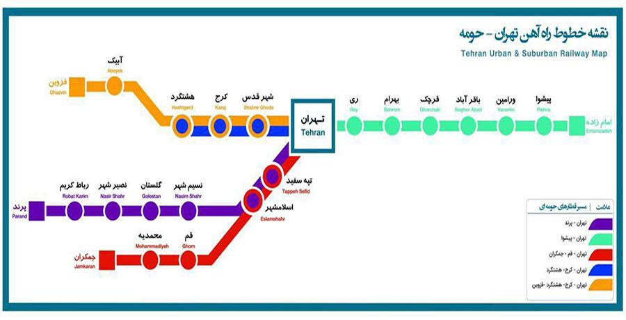 مسیرهای حرکت قطار محلی تهران هشتگرد قزوین
