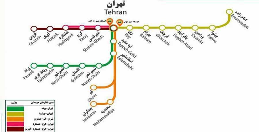 نقشه قطارهای حومه ای تهران