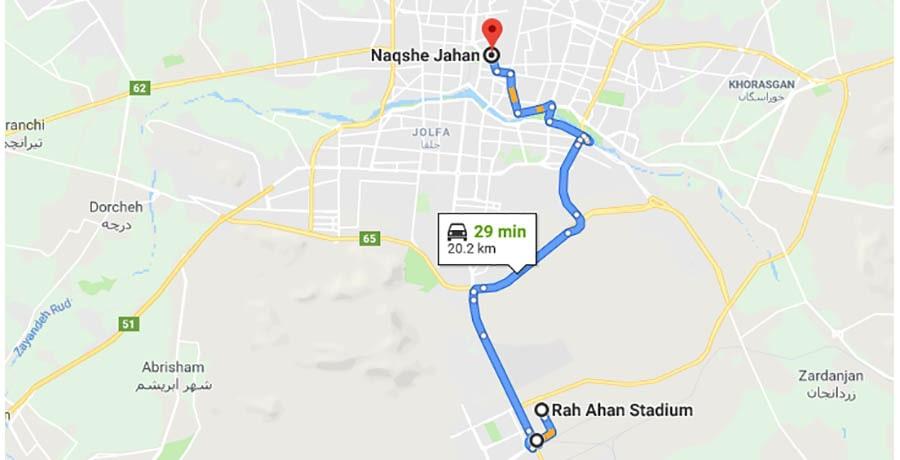 فاصله راه آهن اصفهان تا نقش جهان